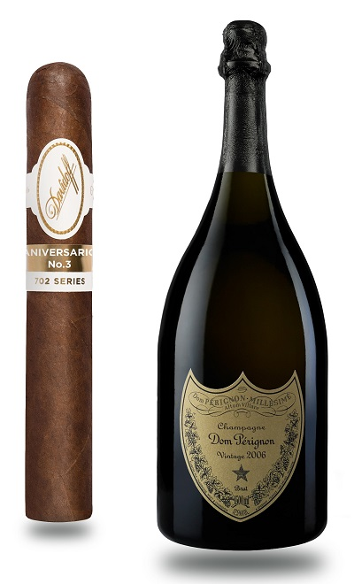 Dom Perignon 2006 paired with a Davidoff Series 702 Aniversario No. 3