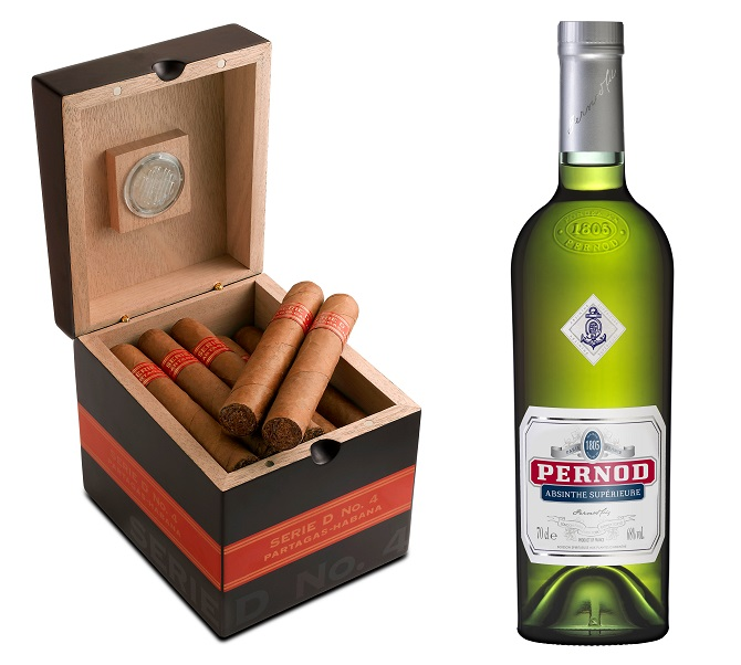 Pernod absinthe matched with a Partagas Series D No. 4