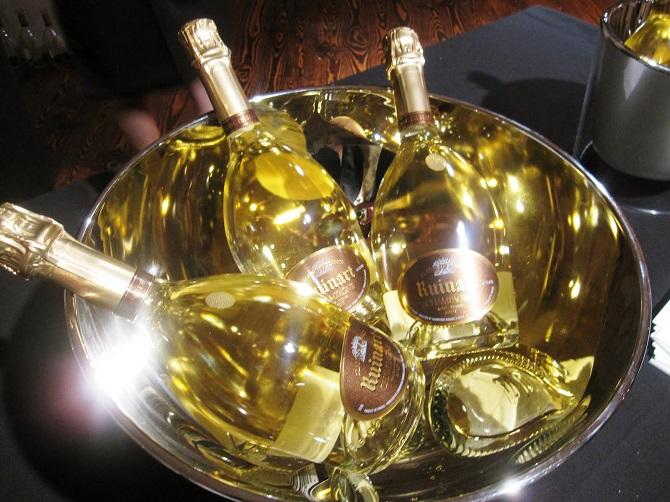 Ruinart Champagne bottles