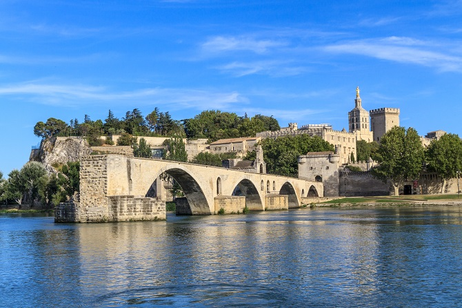 Avignon Bridge with Popes Palace, Pont Saint-Benezet, Provence