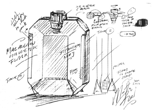 Scetch of the Macallan x Urwerk flask